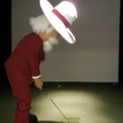 The Colonel shows off good form in the swing analyzer