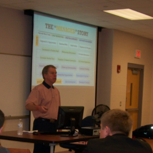 Master Professional Ralph Landrum speaks with EKU PGA Golf Management students